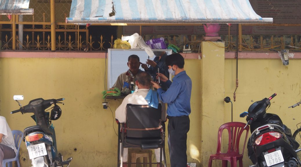 Outdoor barber shop Vietnam