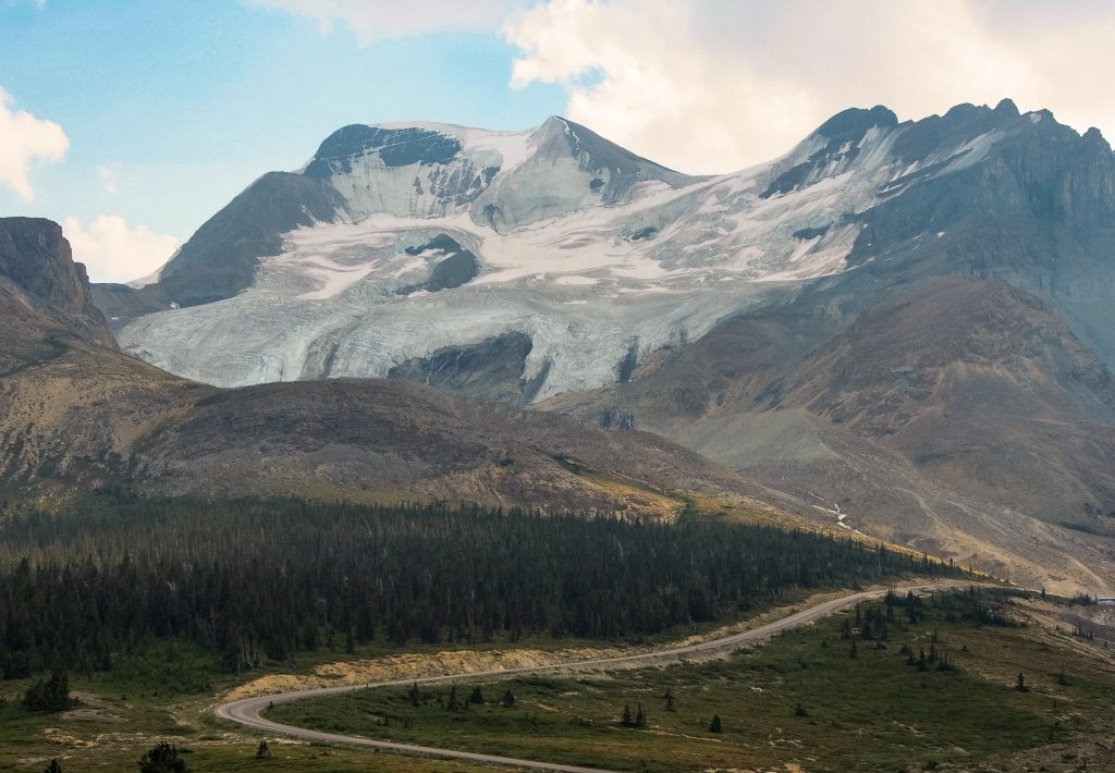 Glacier overlooking a road in The Yukon