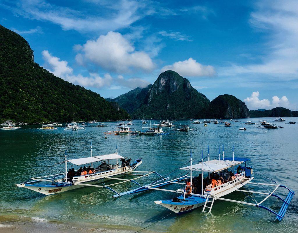 Bancas in Bacuit Bay,El Nido ,Palawan ,Phillipines ,S.E. Asia