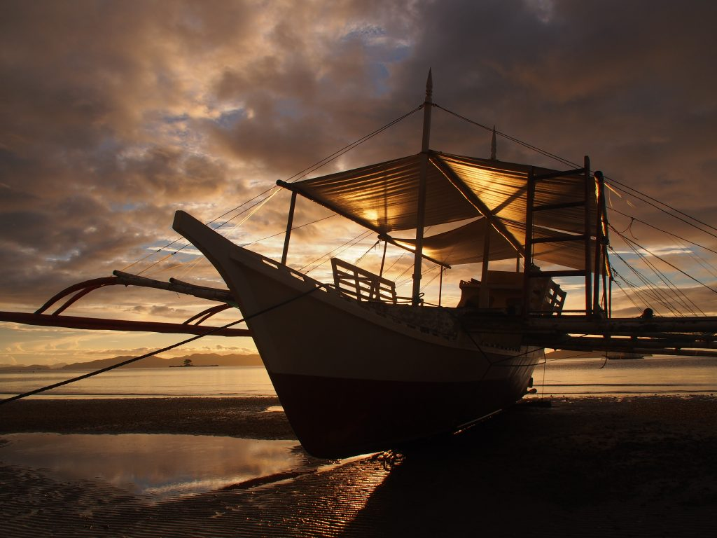 Banca at sunset, Sabaltan, Palawan