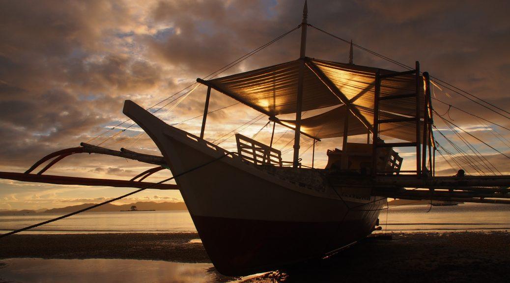 Banca at sunset, Sabaltan, Palawan
