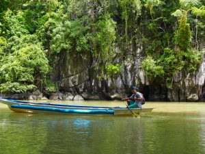 Canoe outside subterranean river,Palawan ,Phillipines ,S.E. Asia