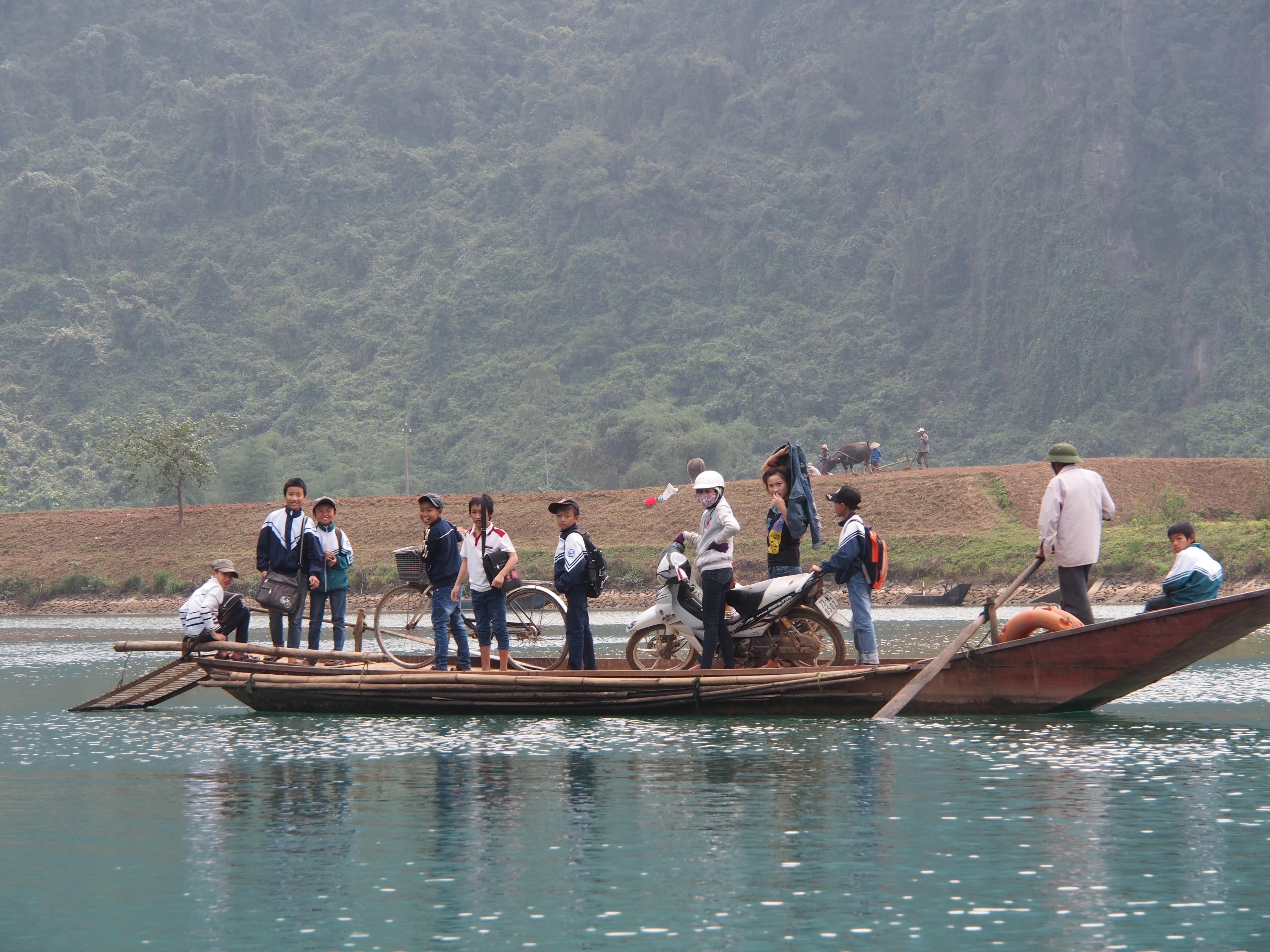 Crossing a river in Phong Nga Ke Bang