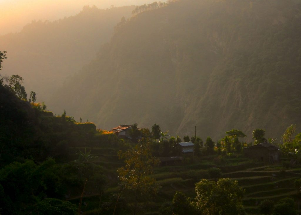 Villages perched over rice terraces.