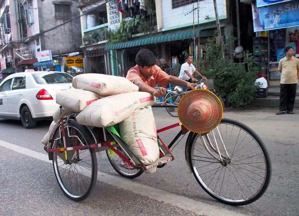 Rickshaw with cement in Yangon