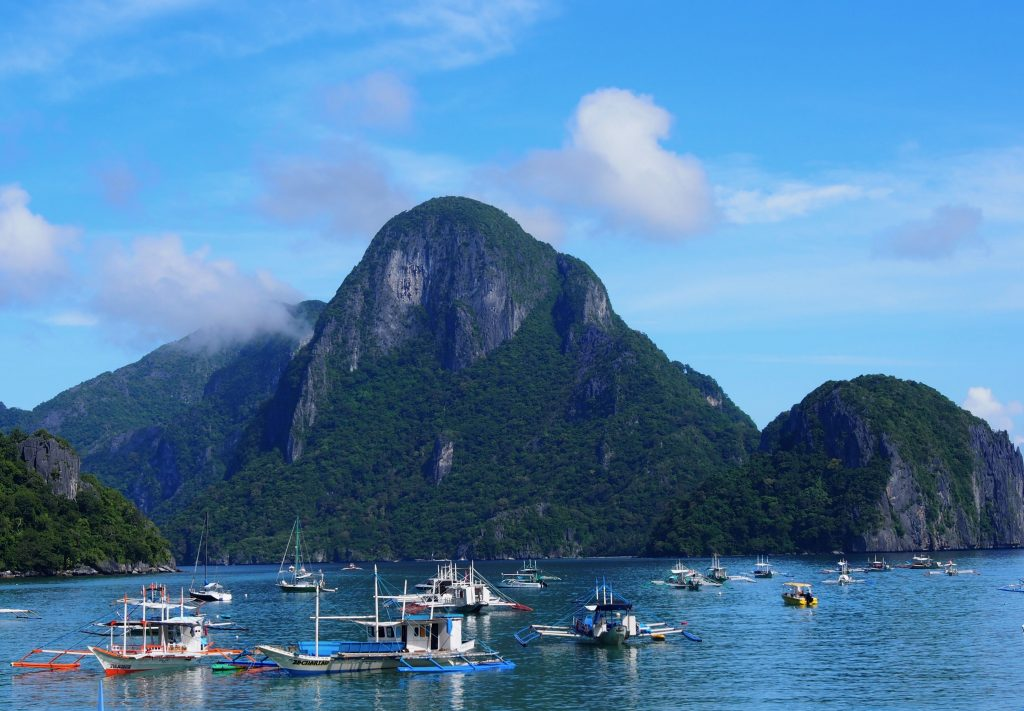 Boats in front of Karst, Bucuit Bay, El Nido,Philippines.