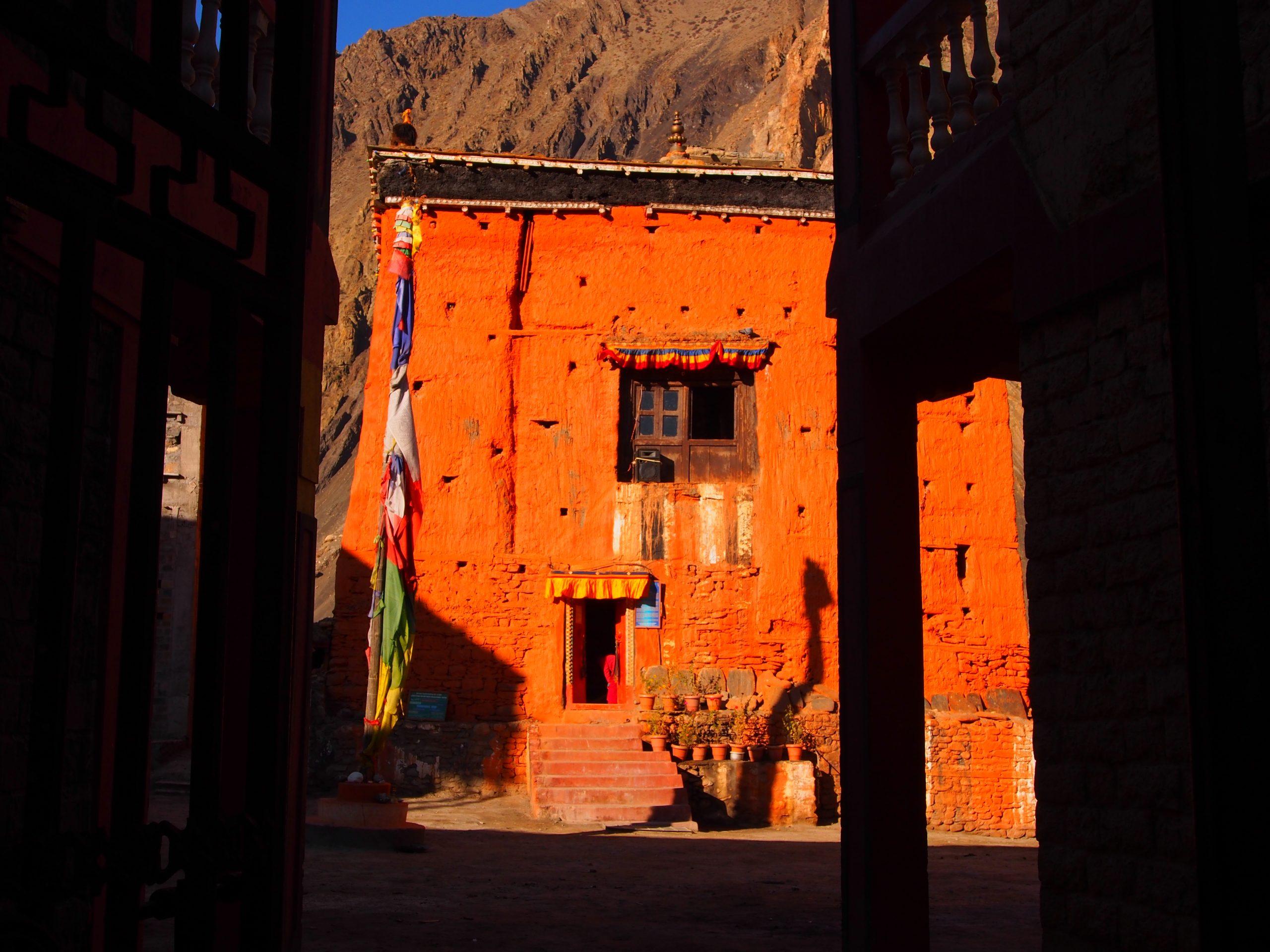 Orange building on Annapurna Circuit Nepal