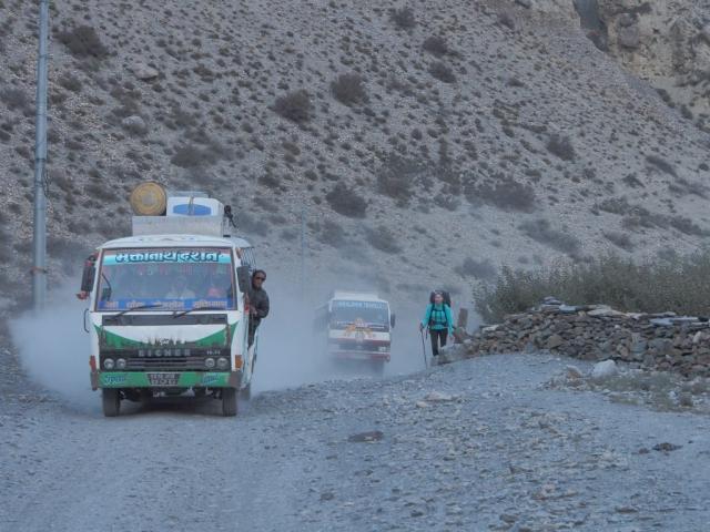 Trucks on the road on Annapurna Circuit Nepal